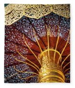 Buddhas Path To Enlightenment, Golden Umbrella Fleece Blanket