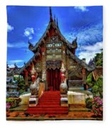 Buddhist Temples In Chiang Mai Fleece Blanket
