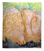 Buff Orpington Hens In The Garden Fleece Blanket
