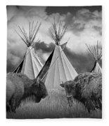 Buffalo Herd Among Teepees Of The Blackfoot Tribe Fleece Blanket