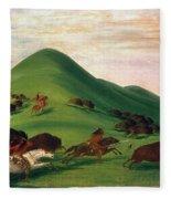 Buffalo Hunt, 1830s Fleece Blanket