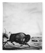 Buffalo Hunt, C1830 Fleece Blanket
