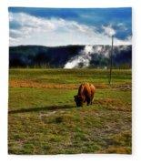 Buffalo In Yellowstone Fleece Blanket