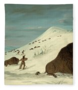 Buffalo Lancing In The Snow Drifts. Sioux Fleece Blanket