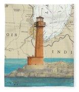 Buffington Harbor Lighthouse In Nautical Chart Map Fleece Blanket