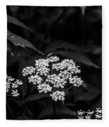 Bug On Flowers Black And White Fleece Blanket