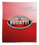 Bugatti - 3 D Badge On Red Fleece Blanket