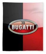 Bugatti 3 D Badge On Red And Black  Fleece Blanket