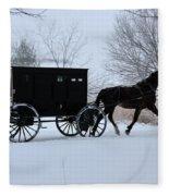 Buggy On Winter Road Fleece Blanket