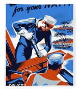 Build For Your Navy - Ww2 Fleece Blanket by War Is Hell Store