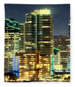 Building At Night With Lights Fleece Blanket