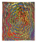Building Of Circles And Waves Colored Yellow Red And Blue Fleece Blanket