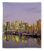 Buildings Lit Up At Dusk, Vancouver Fleece Blanket