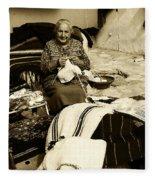 Bulgarian Market Lady Fleece Blanket