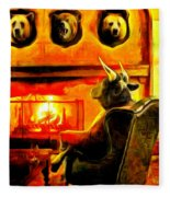 Bull At Night Fleece Blanket