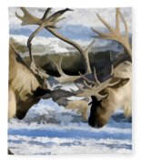 Bull Elk Fighting  Fleece Blanket