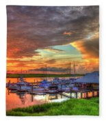 Bull River Marina Sunrise 2 Sunrise Art Fleece Blanket