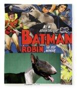 Bull Terrier Art Canvas Print - Batman Movie Poster Fleece Blanket