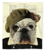 Bulldog Portrait, Animals In Clothes Fleece Blanket