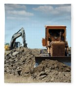 Bulldozer And Excavator On Road Construction Fleece Blanket