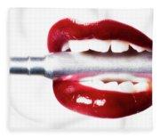 Bullet Lips Fleece Blanket