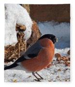 Bullfinch In The Snow Fleece Blanket