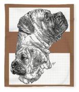 Bullmastiff And Pup Fleece Blanket