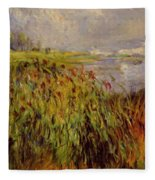 Bulrushes On The Banks Of The Seine 1874 Fleece Blanket