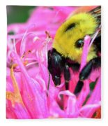 Bumble Bee And Flower Fleece Blanket
