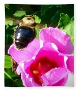 Bumble Bee Flying To Flower Fleece Blanket
