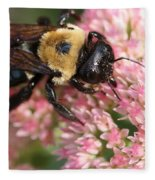 Bumble Bee Macro Fleece Blanket