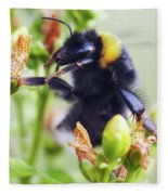 Bumble Bee On Flower Fleece Blanket