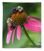 Bumble Bees At Work Fleece Blanket