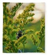 Bumblebee And Canadian Goldenrod 15 Fleece Blanket