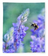Bumblebee And Lupine Fleece Blanket