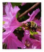 Bumblebee In Azalea Fleece Blanket