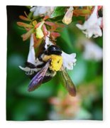 Bumblebee On Abelia Fleece Blanket