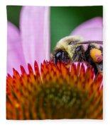 Bumblebee On Coneflower Fleece Blanket