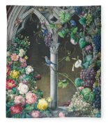 Bunches Of Roses Ipomoea And Grapevines Fleece Blanket
