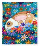 Bunny And Flowers Fleece Blanket