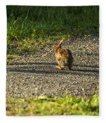 Bunny Eating On The Run Fleece Blanket