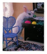 Bunny In Small Room Fleece Blanket
