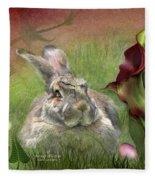 Bunny In The Lilies Fleece Blanket