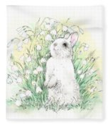 Bunny In White Fleece Blanket