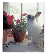 Bunny In Window Fleece Blanket