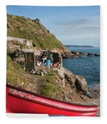Bunty In Priest's Cove Cape Cornwall Fleece Blanket