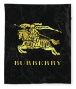 Burberry - Black And Gold - Lifestyle And Fashion Fleece Blanket