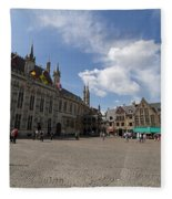 Burg Square In Bruges Belgium Fleece Blanket