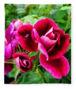 Burgundy Rose And Rose Bud Fleece Blanket