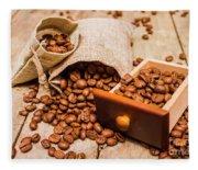 Burlap Bag Of Coffee Beans And Drawer Fleece Blanket